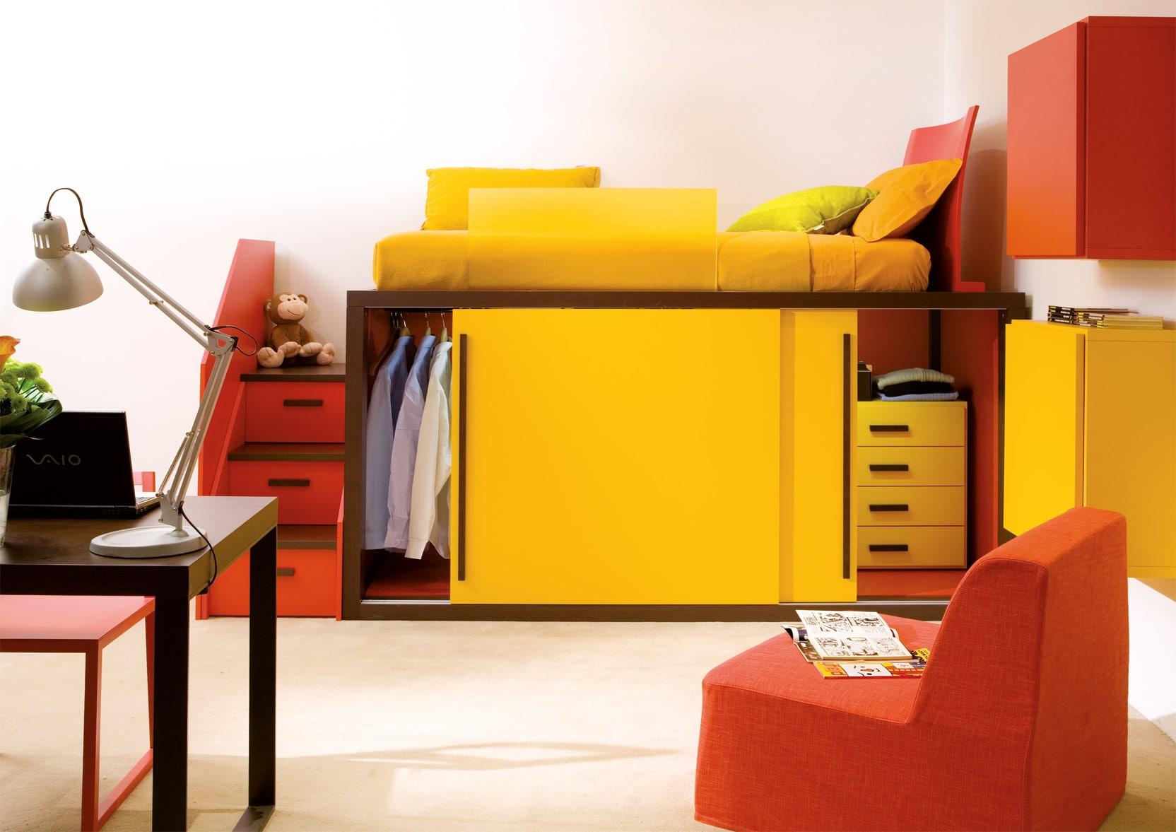 Design Hochbett integriert mit Schrank
