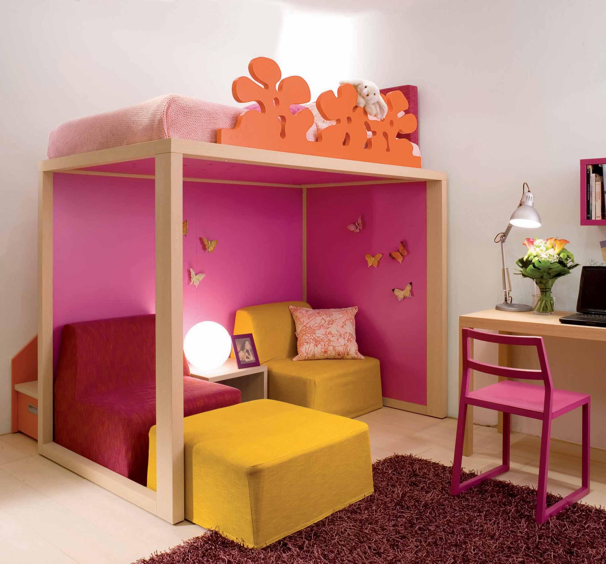 Design Hochbett für Jugendliche mit Sitzmöglichkeit