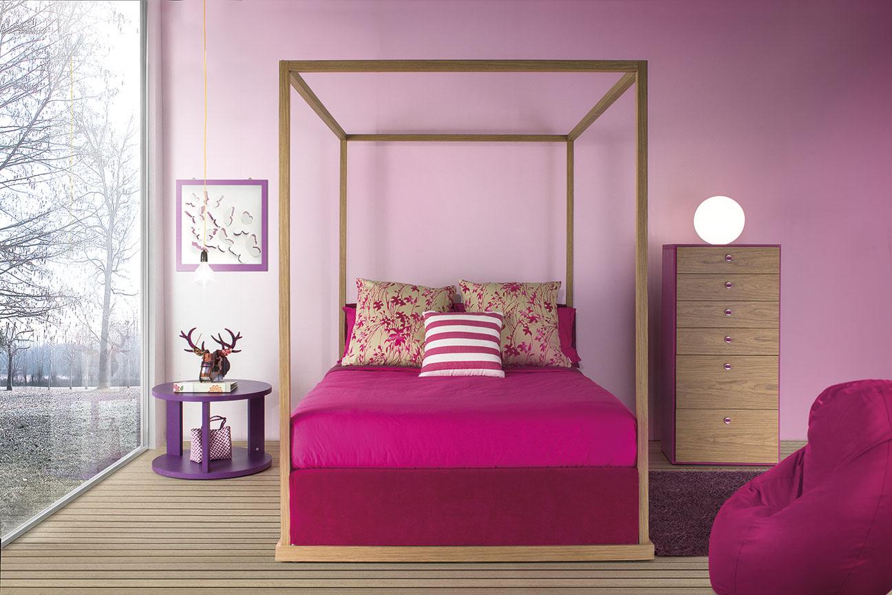 Himmelbett für Mädchen 140 x 200 cm modern und romantisch