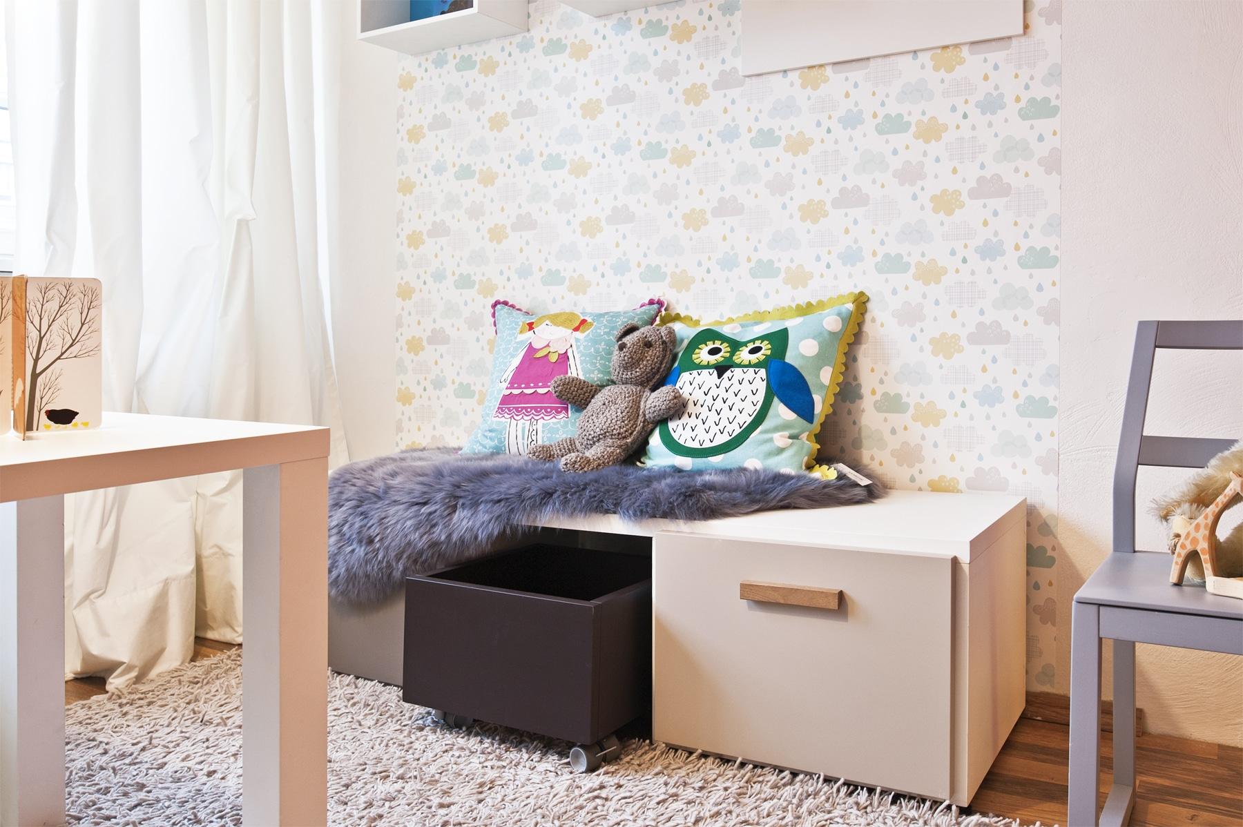 Stauraum Spielmöbel im Kinderzimmer Sitzen und Spielen Design