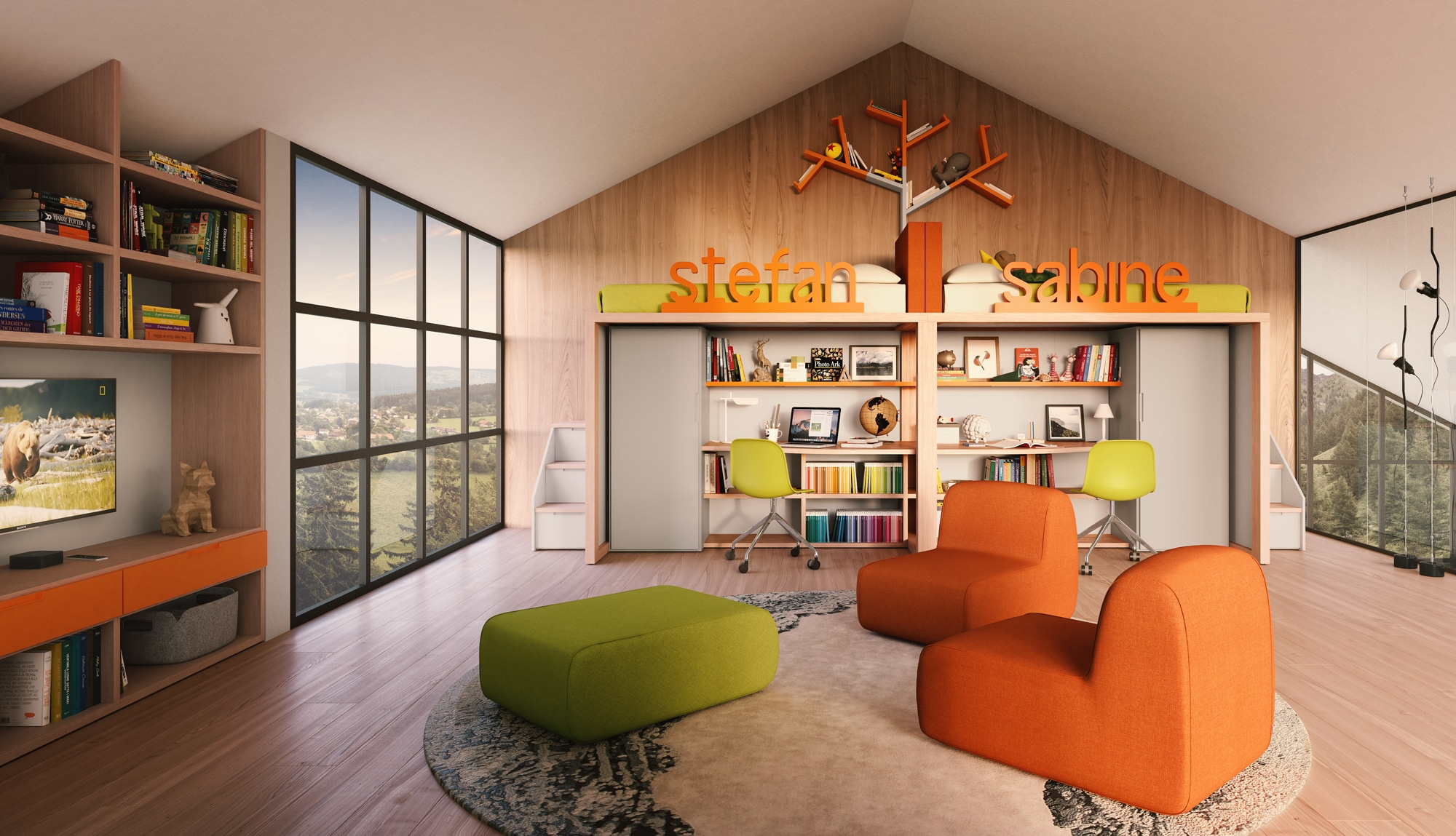 Hochbett mit Schreibtisch modernes Design