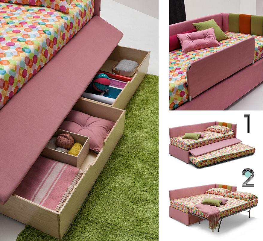 Polsterbett für Kinder mit ausziehbarem Gästebett oder Schubladen