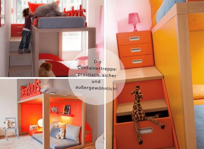 Das richtige Hochbett. Hochbett mit Schubladentreppe. Sicheres Hochbett. Platz im Kinderzimmer