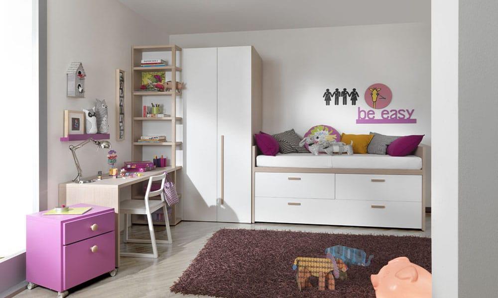 Halbhohes Mädchen Kinderbett mit viel Stauraum