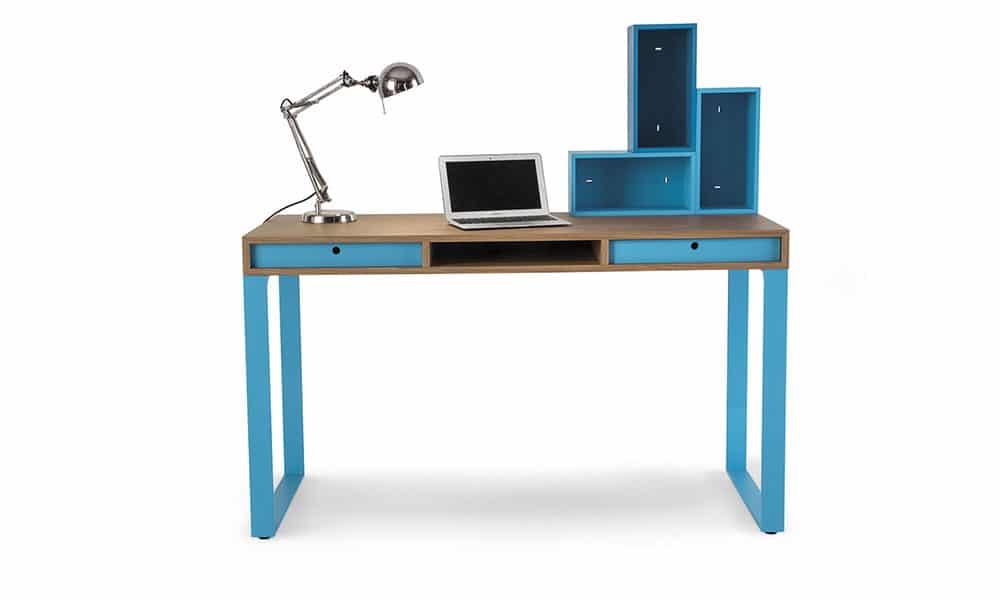 hochwertiger Schreibtisch blau mit Stauraum