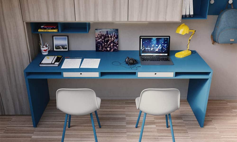 Blauer designer Schreibtisch für Jugendliche von Mobimio