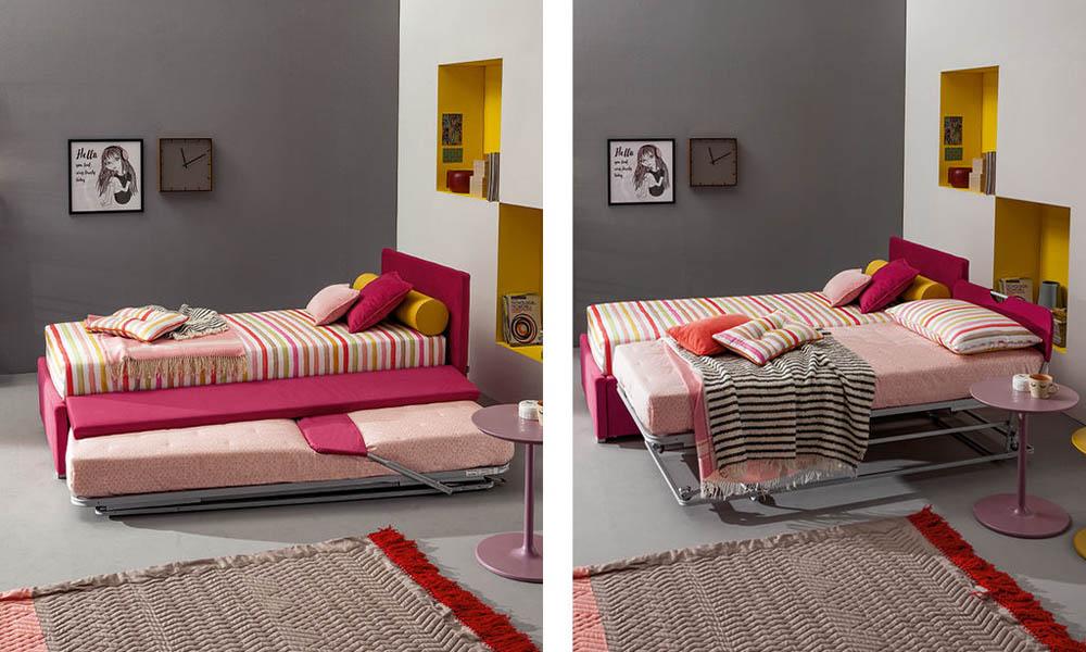 Hochwertiges Polsterbett mit Gästebett für Jugendliche und Kinder