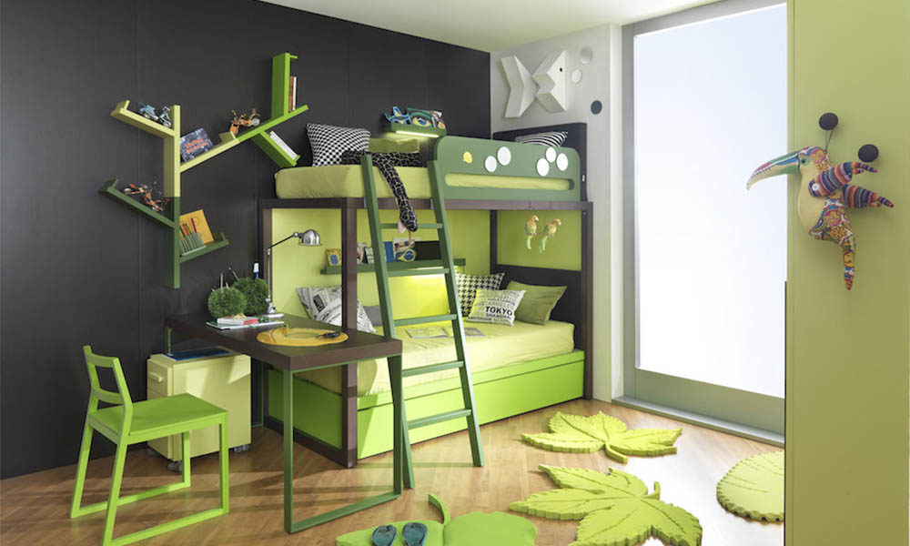 Grünes Kinderzimmer geplant von Mobimio mit designer Möbeln von Dearkids