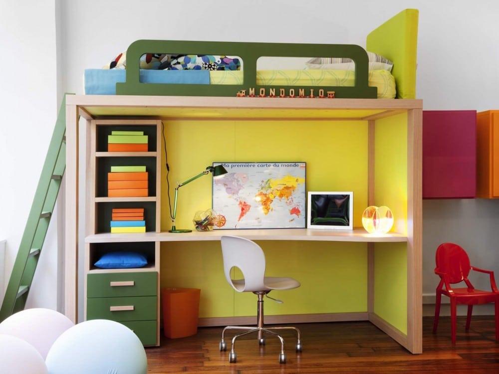 modernes Hochbett mit Schreibtisch